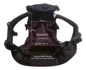 Dimensions du Buzzidil XL ajusté au minimum